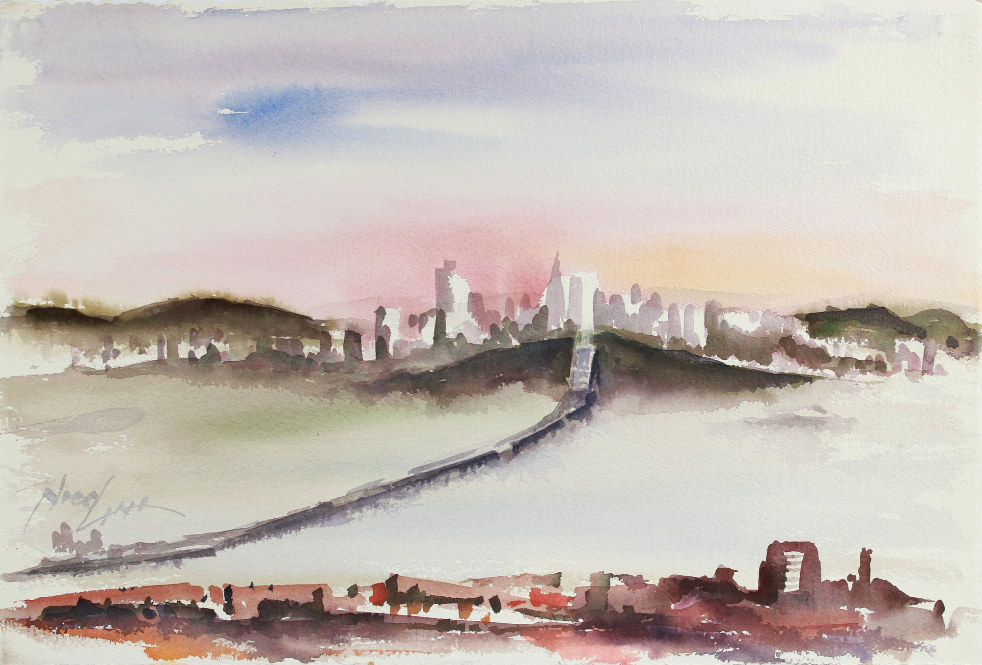San Francisco Skyline & San Rafael Bridge <br>Late 20th Century Watercolor <br><br>#A7807