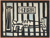 Interior Scene Behind Bars <br>1964 Oil <br><br>#A7867