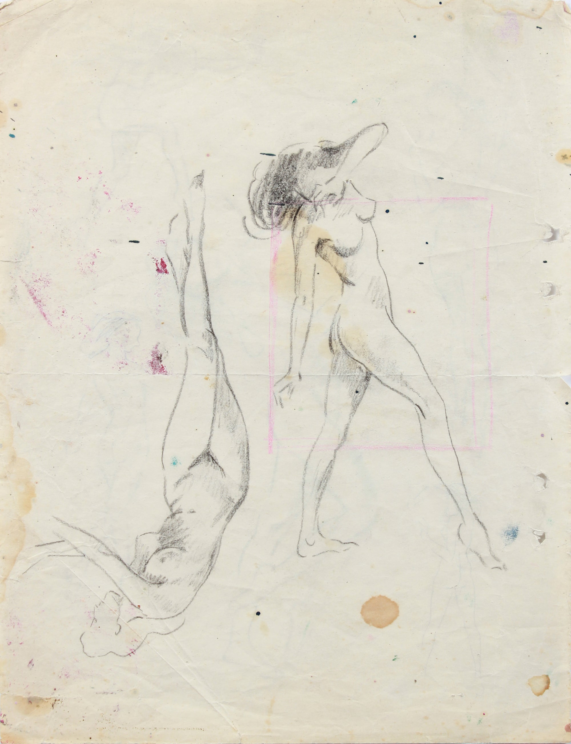 Nymph-like Figures - Study <br>20th Century Mixed Media Drawing <br><br>#A7974