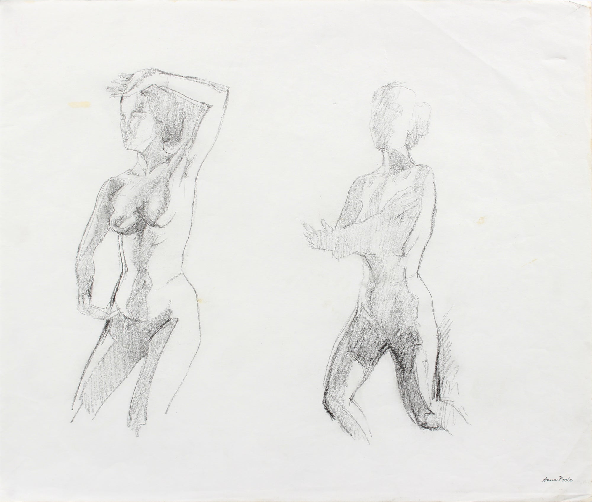 Nude Figure Study <br>Late 20th Century Graphite <br><br>#A7977