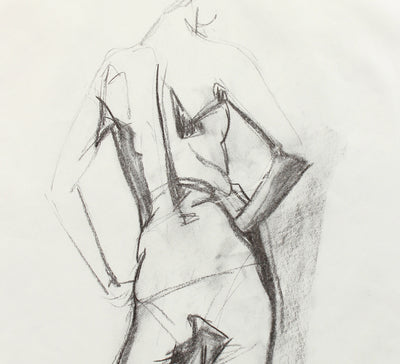 Arms Akimbo - Drawing <br>Late 20th Century Charcoal <br><br>#A7980