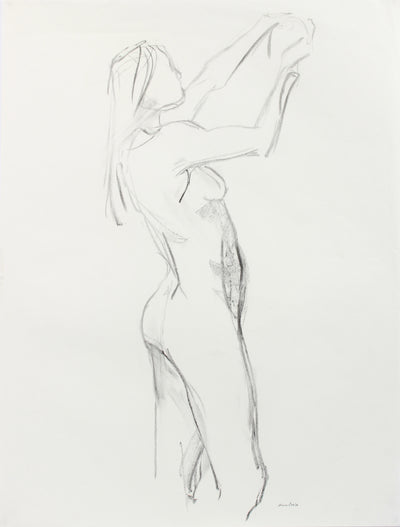 Reaching Female Nude Study <br>20th Century Charcoal <br><br>#A7982