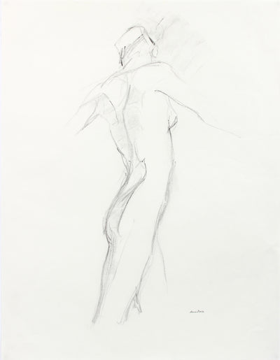 Contrapposto Model Study <br>Late 20th Century Charcoal <br><br>A7987