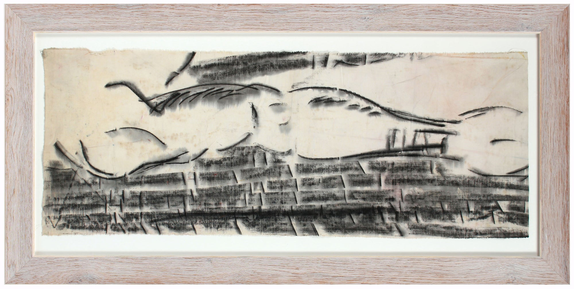Fog Over Brick, San Francisco Abstract <br>20th Century Ink on Fabric <br><br>#A8002