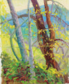 Sunny Mountain Forest Scene <br>1954 Oil <br><br>#A8026