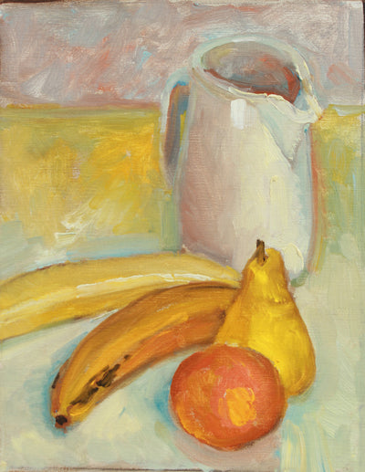 Tabletop Still Life with Pitcher & Fruit <br>20th Century Oil <br><br>#A8028