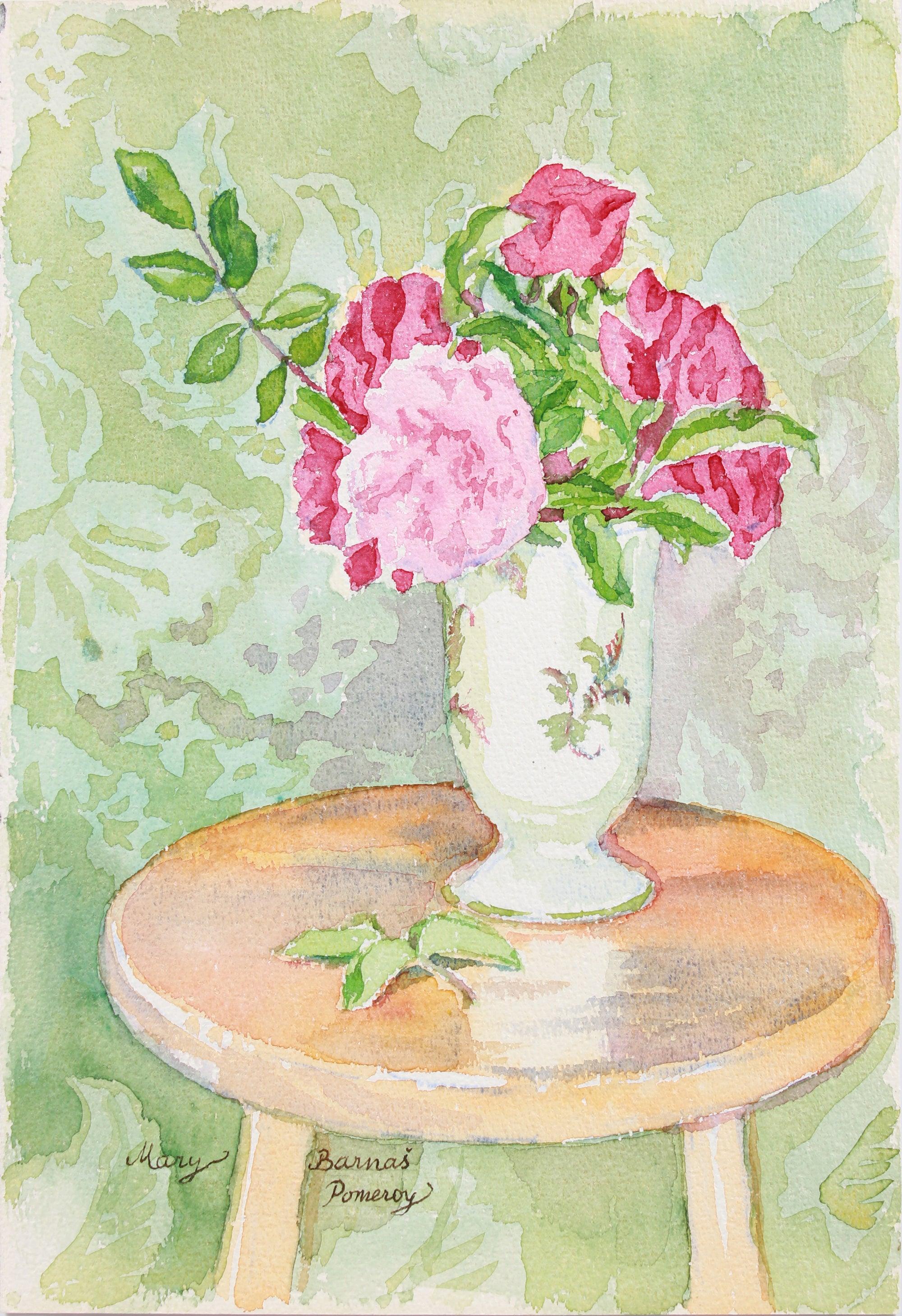 <i>Red Roses in a French Vase</i> <br>2003 Watercolor <br><br>#A8031