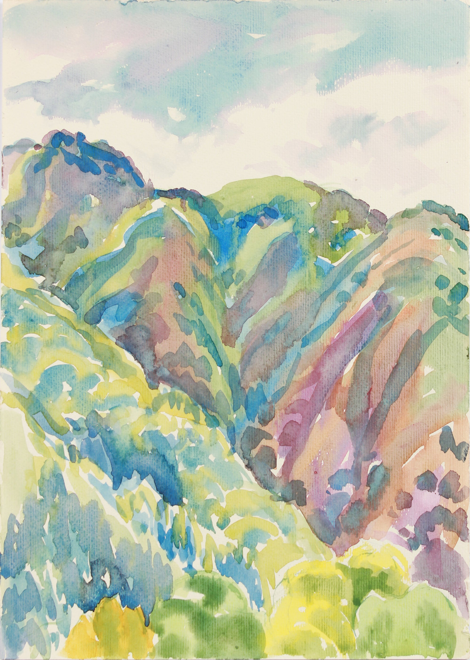 Southwestern Mountain Range <br>20th Century Watercolor <br><br>#A8033
