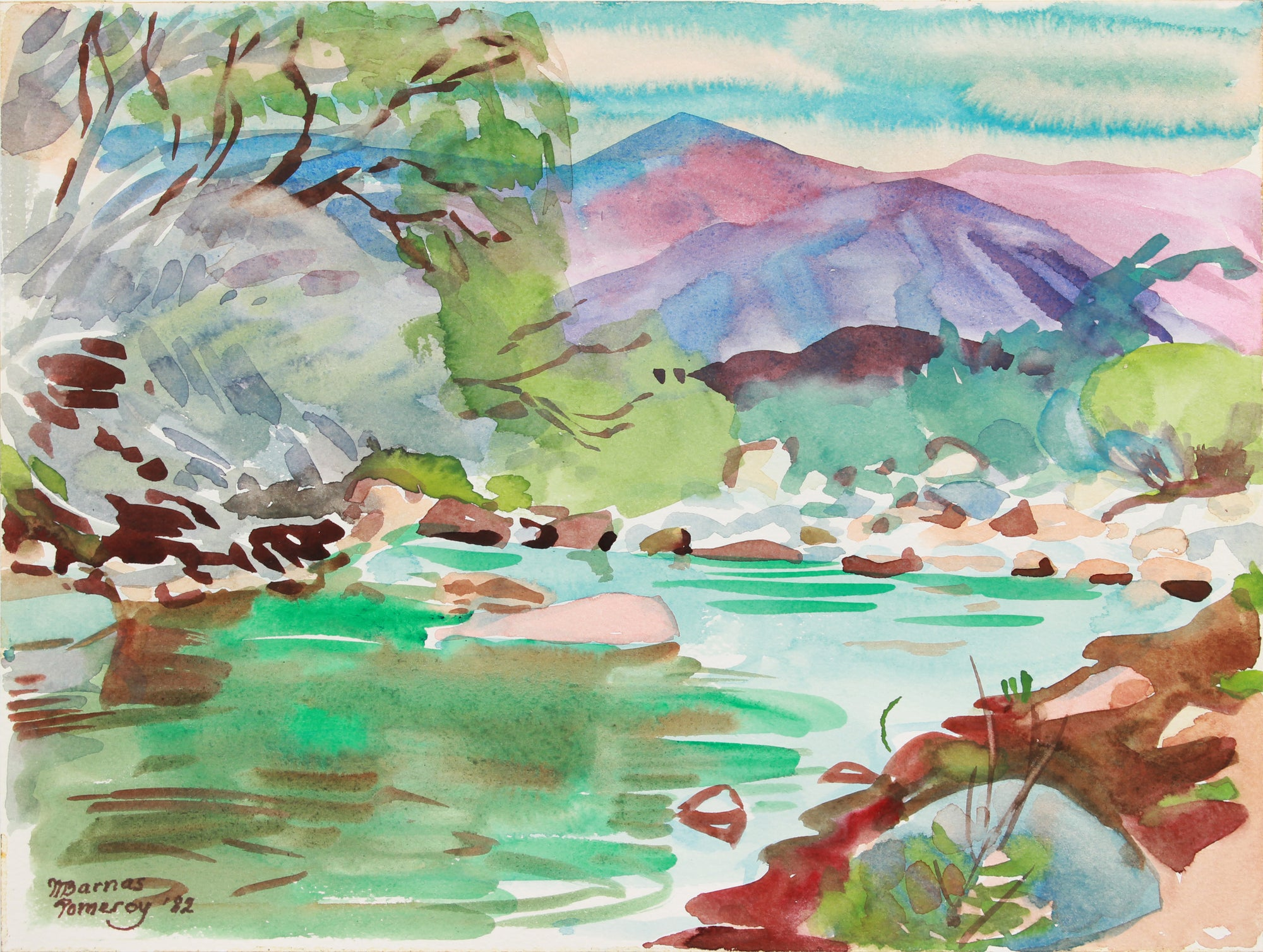 <i>Late Afternoon by Palm Canyon Creek</i> <br>1982 Watercolor <br><br>#A8035