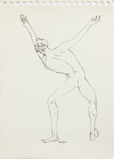 Reaching Male Nude <br>1960-80s Ink <br><br>#A8206