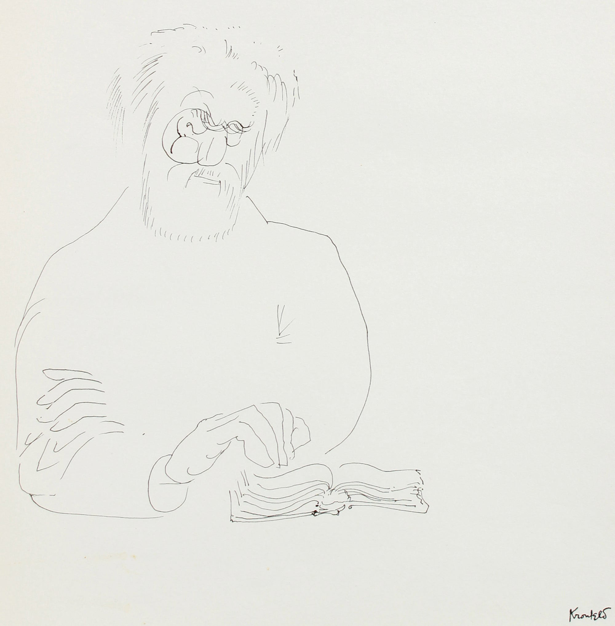 Old Man Reading - Study <br>1960-80s Ink <br><br>#A8208