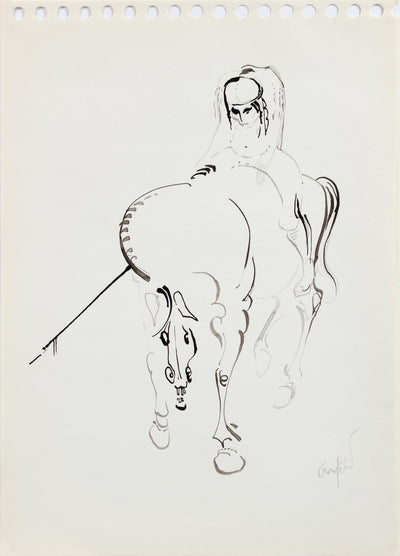Surreal Horse & Man Drawing <br>1960-80s Ink <br><br>#A8209