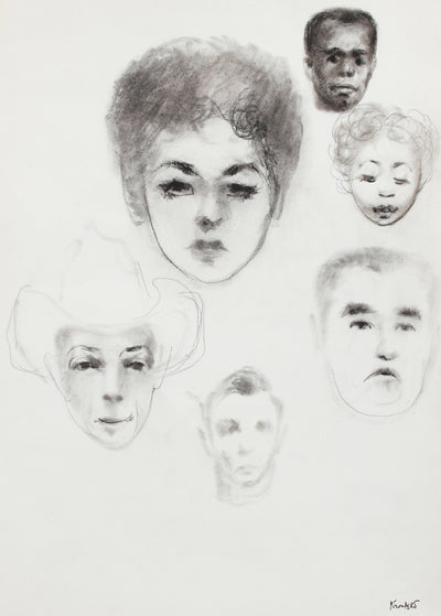 Faces - A Charcoal Study <br>Mid-Late 20th Century <br><br>#A8210