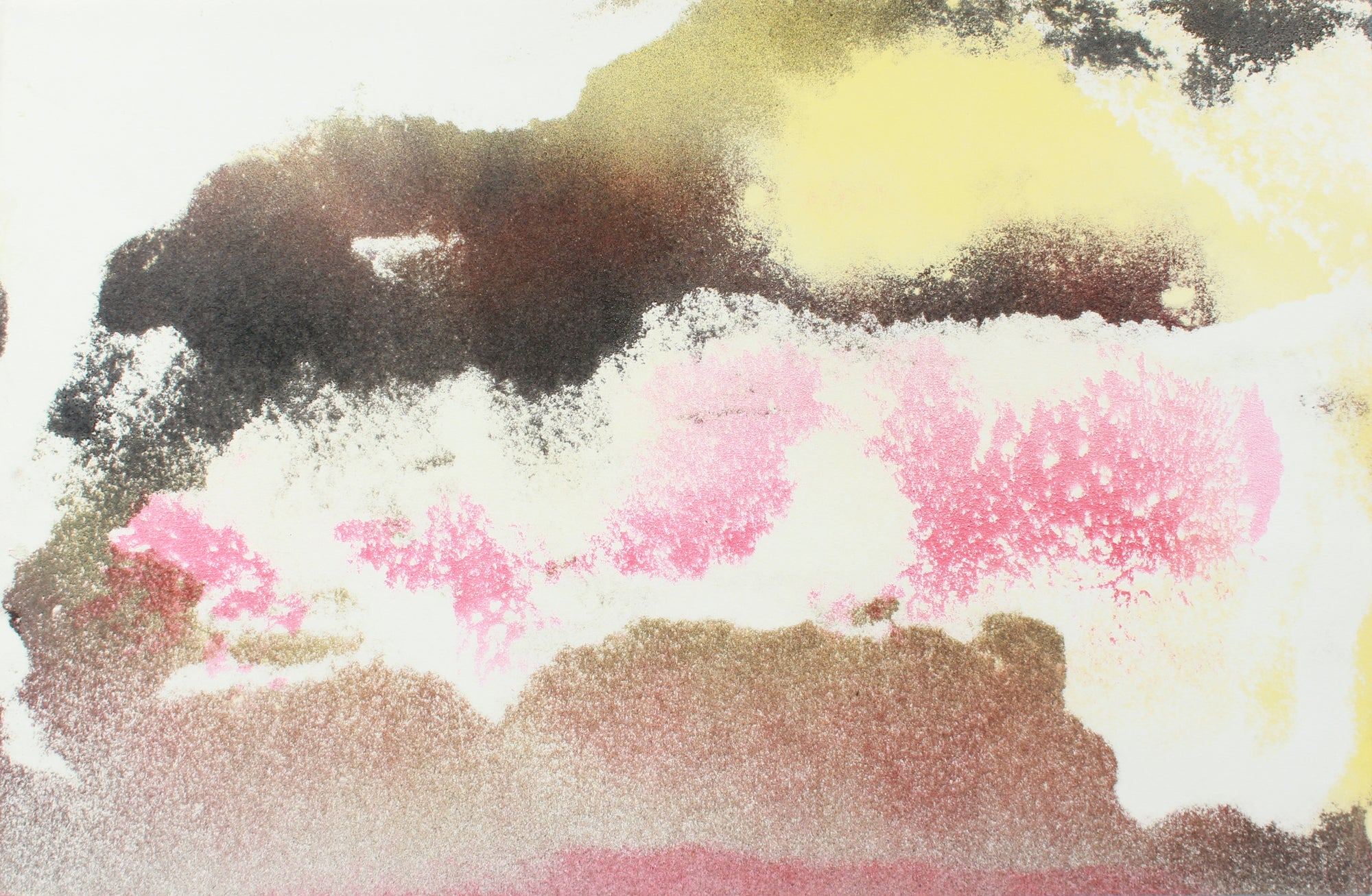 Sun & Horizon Abstraction <br>1960s Gouache & Sand <br><br>#A8291