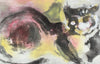 Cat in the Abstract <br>1960-80s Gouache <br><br>#A8294