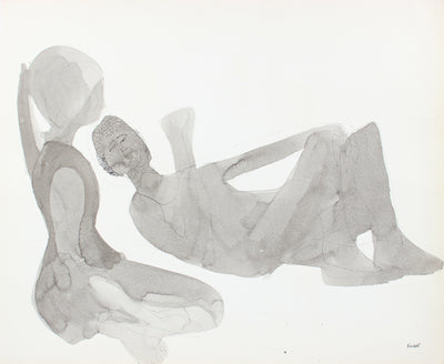 Relaxed Couple in Silhouette <br>1960-80s Ink <br><br>#A8295