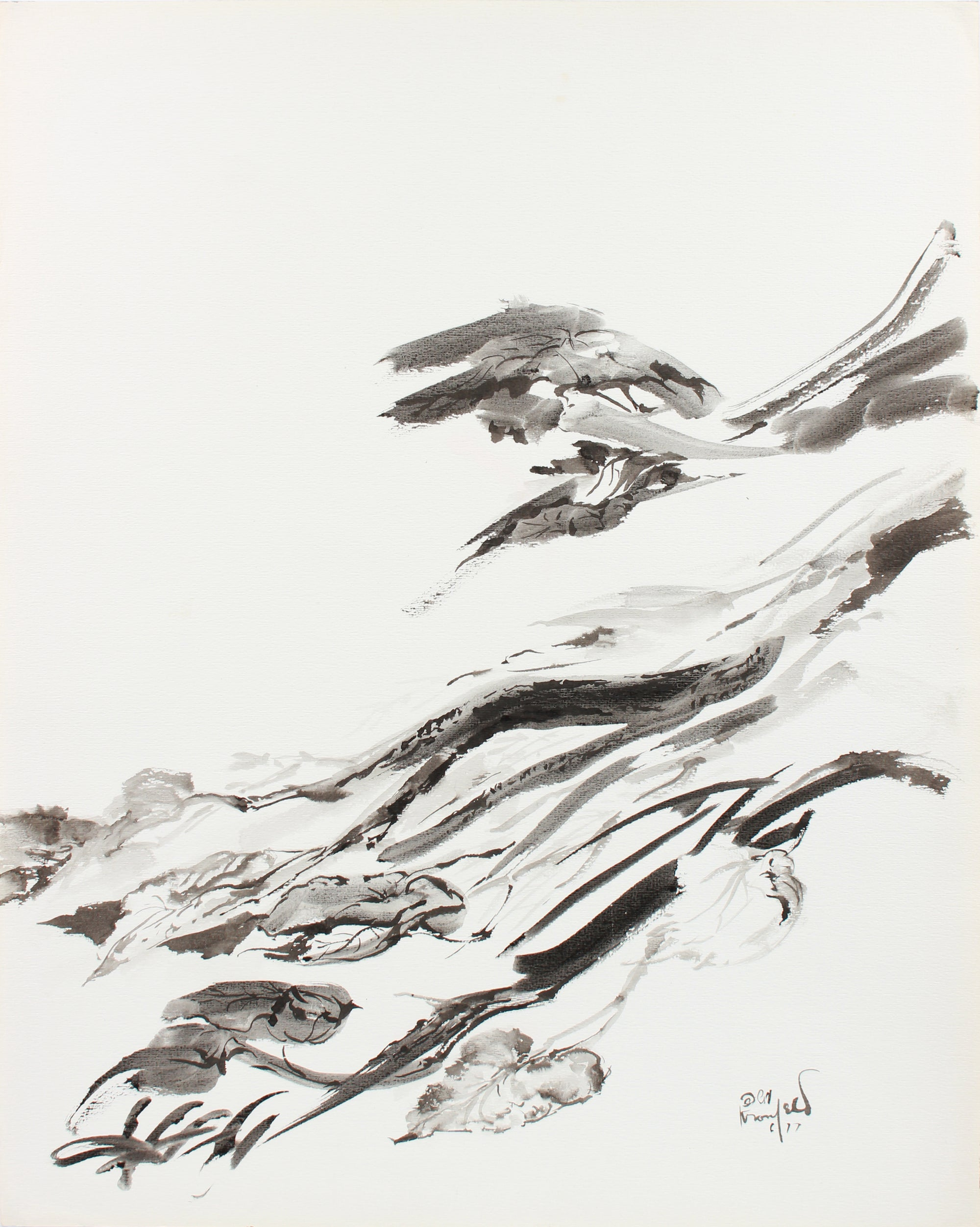 Expressive Brushstroke Abstraction <br>1960-80s Ink <br><br> #A8300
