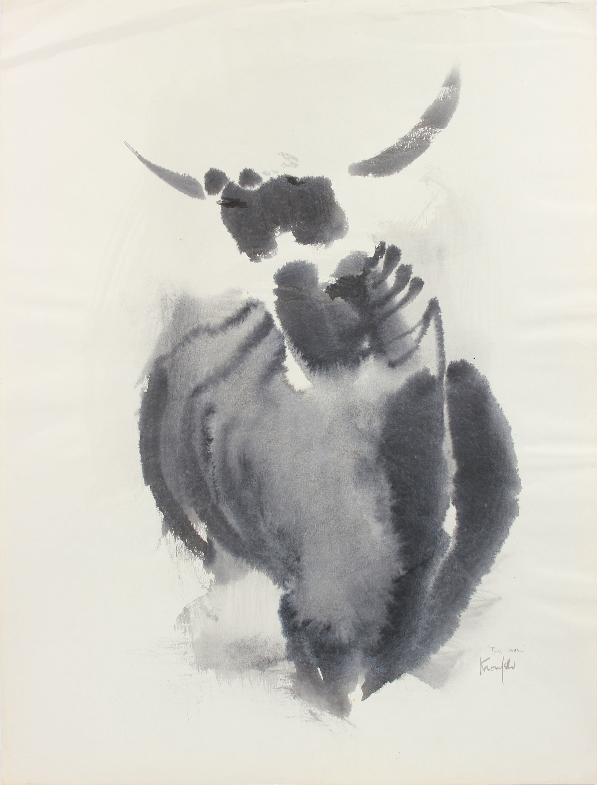 Horned-Animal Deconstruction <br>1960-80s Watercolor <br><br>#A8301