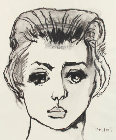 Arresting Female Portrait Drawing <br>1960-80s Charcoal <br><br>#A8302