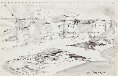 Rough California Landscape Sketch <br>1976 Ink <br><br>#A8309