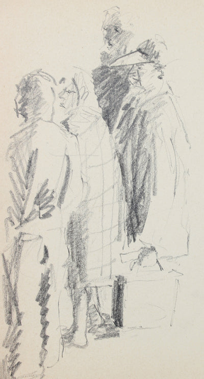 Modernist Sketched Figures <br>20th Century Graphite <br><br>#A8313
