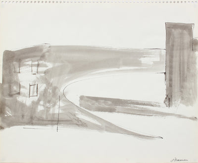 Black & White Cityscape Abstraction <br>1976 Ink Wash <br><br>#A8316