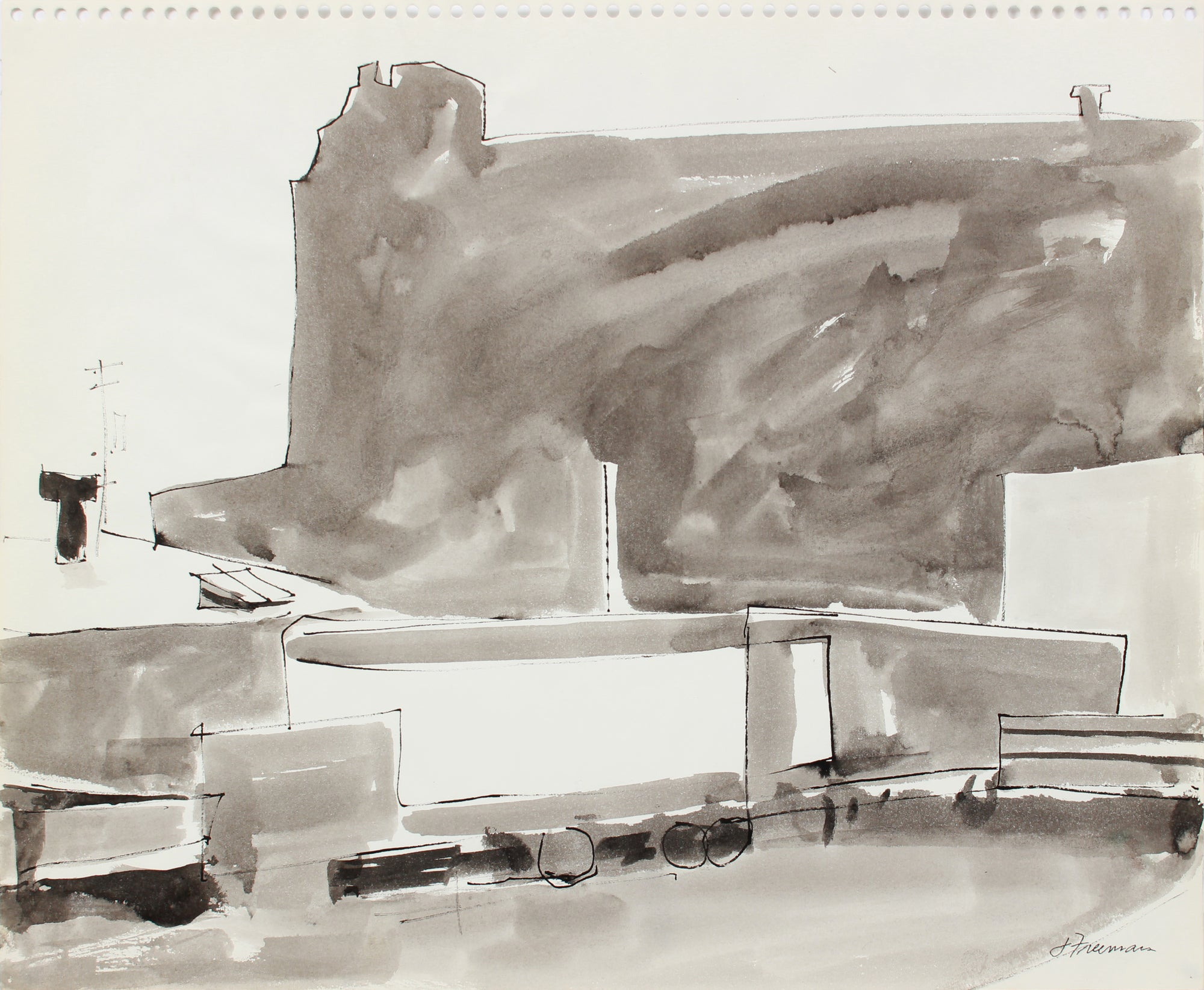 Monochrome Cityscape Abstraction <br>1976 Ink Wash <br><br>#A8317