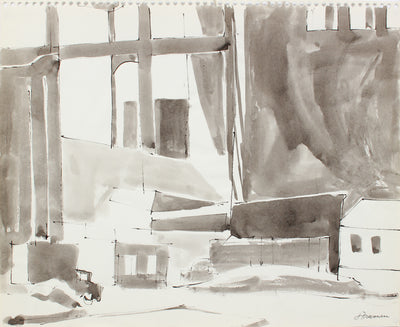 Industrial Cityscape Abstraction <br>1976 Ink Wash <br><br>#A8318