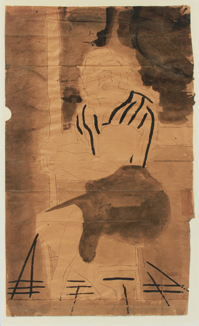 Regal Abstracted Seated Figure <br>20th Century Ink <br><br>#A8321