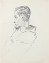 Modernist Male Portrait Detail <br>1940-50s Graphite <br><br>#A8411