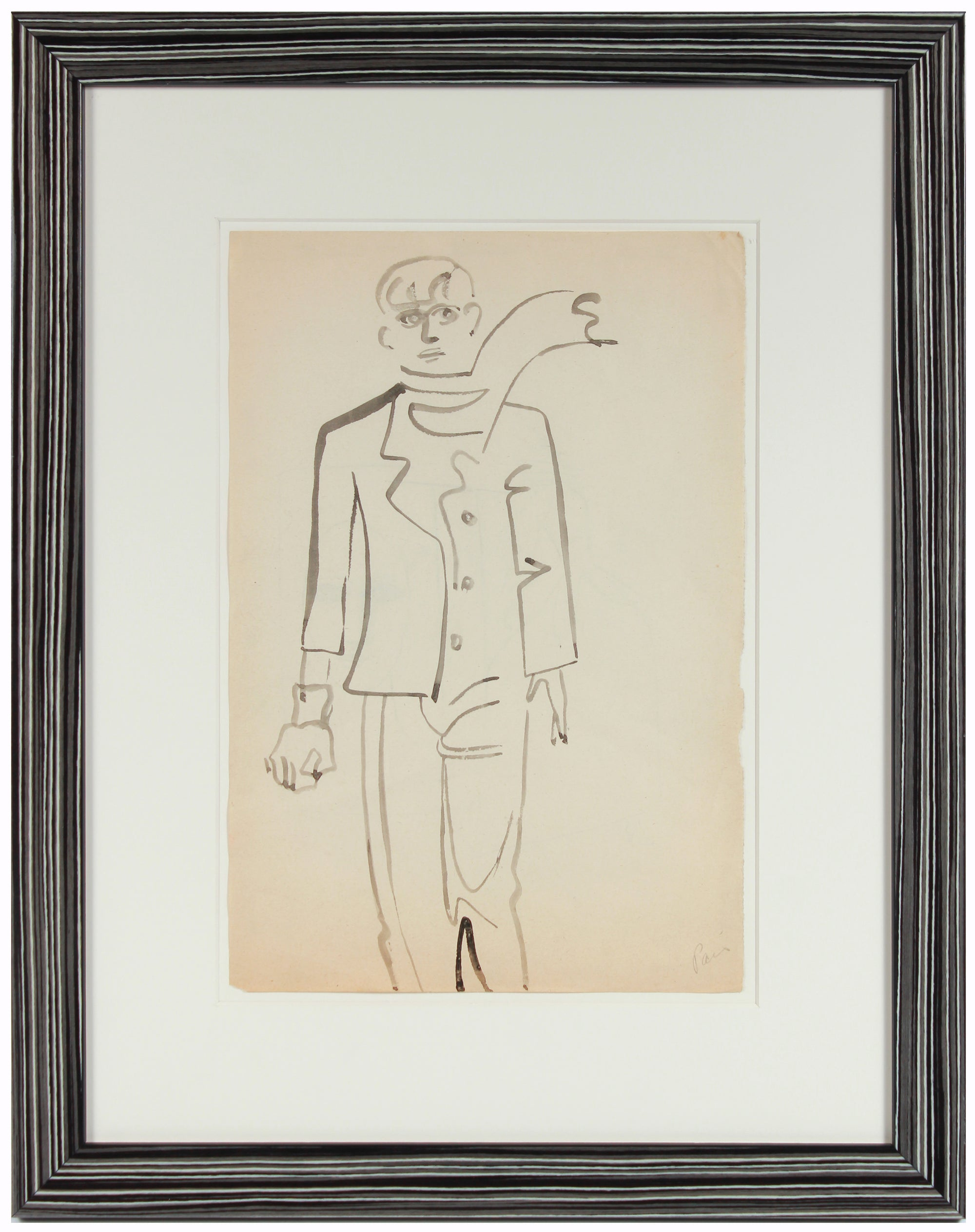 <i>Paris</i>, Man with Scarf <br>1940-50s Charcoal <br><br>#A8412