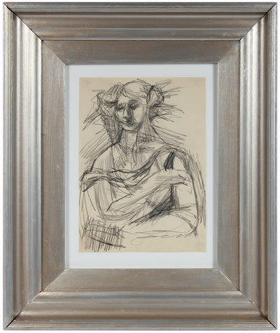 Modernist Female Portrait <br>1940-50s Graphite <br><br>#A8420
