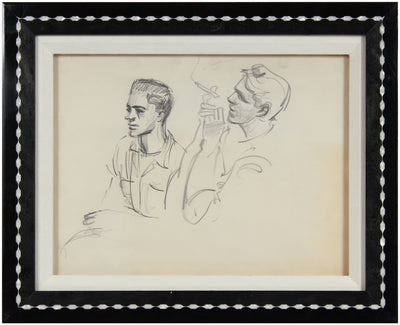 Vintage New York Drawing <br>1940-50s Graphite <br><br>#A8422