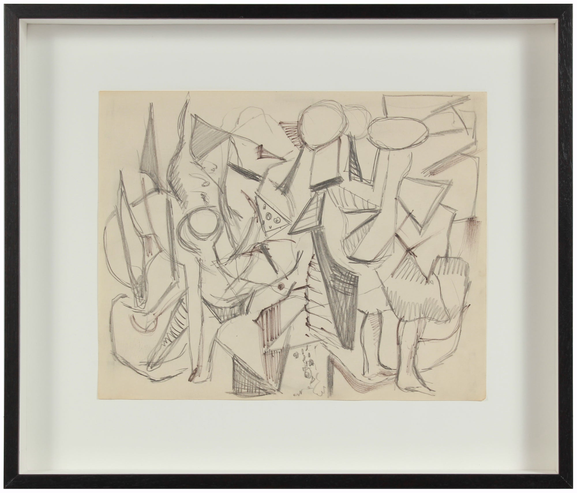 Expressionist Geometric Abstract <br>1940s Graphite <br><br>#A8448