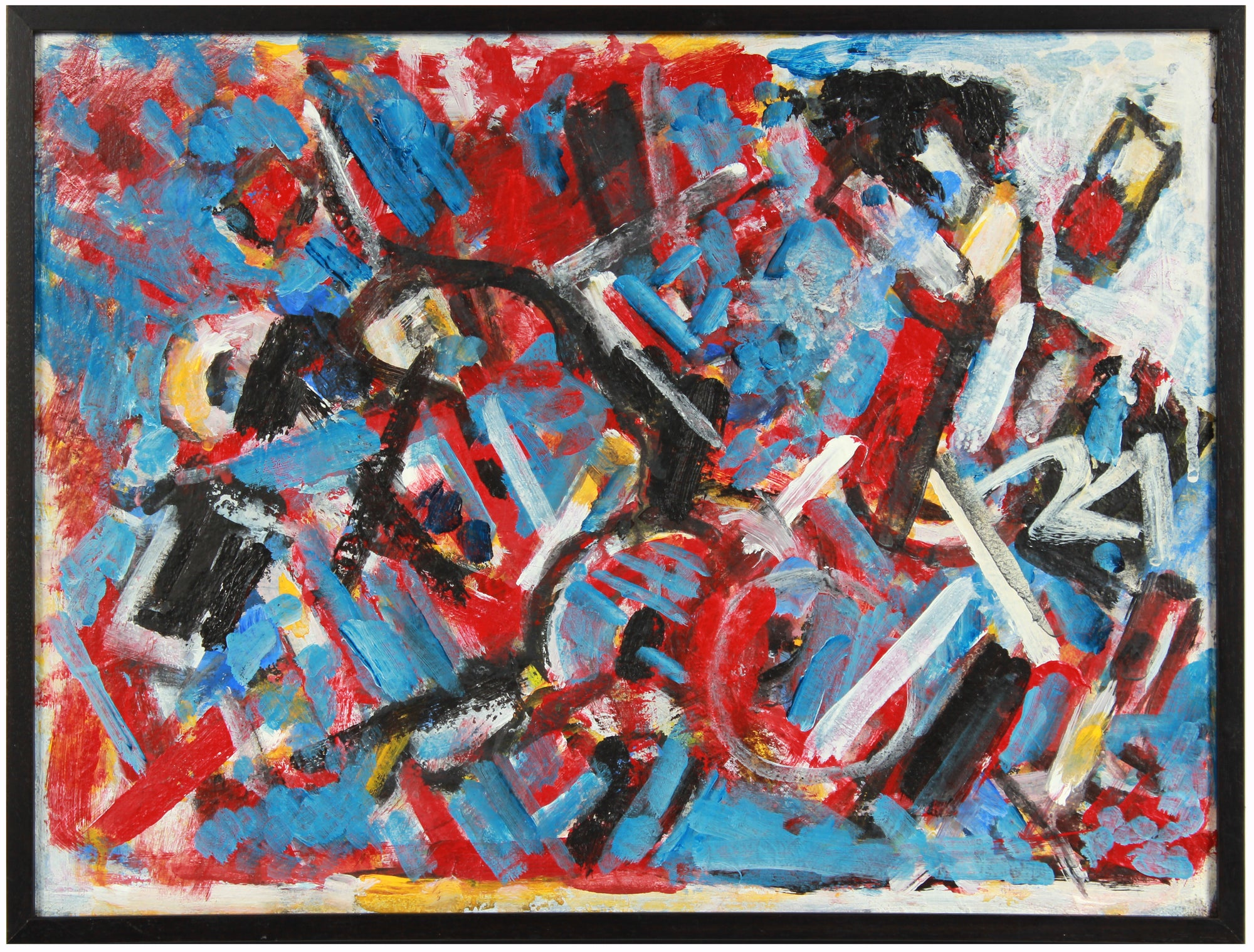 Red & Blue Gestural Deconstruction <br>Early 2000s Acrylic <br><br>#A8452