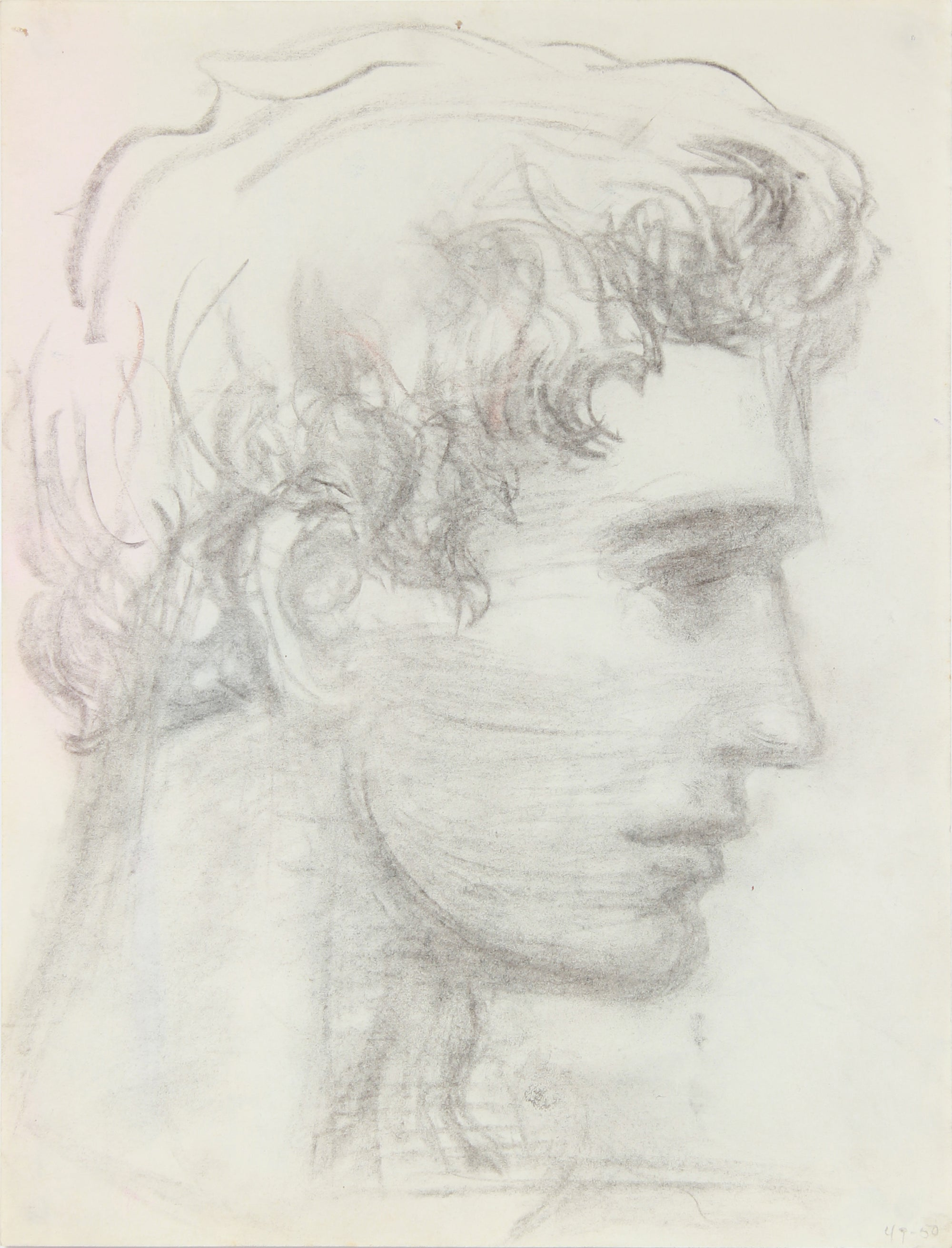 Dreamy Male Portrait Study <br>1949-50 Charcoal <br><br>#A8460
