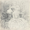 Vintage Drawing of Two Society Ladies <br>1940-50s Graphite <br><br>#A8473