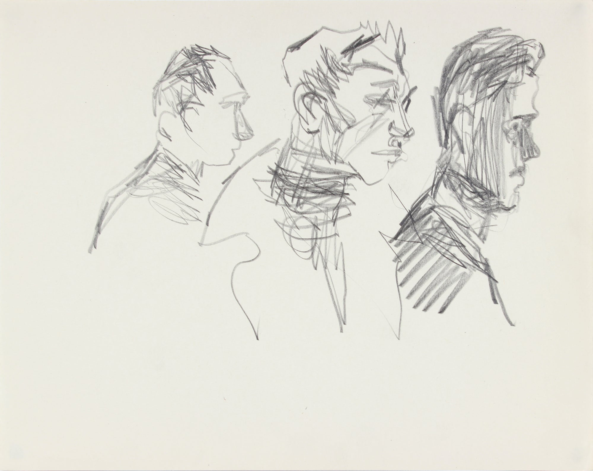 Three Modernist Faces <br>1940-50s Graphite <br><br>#A8474