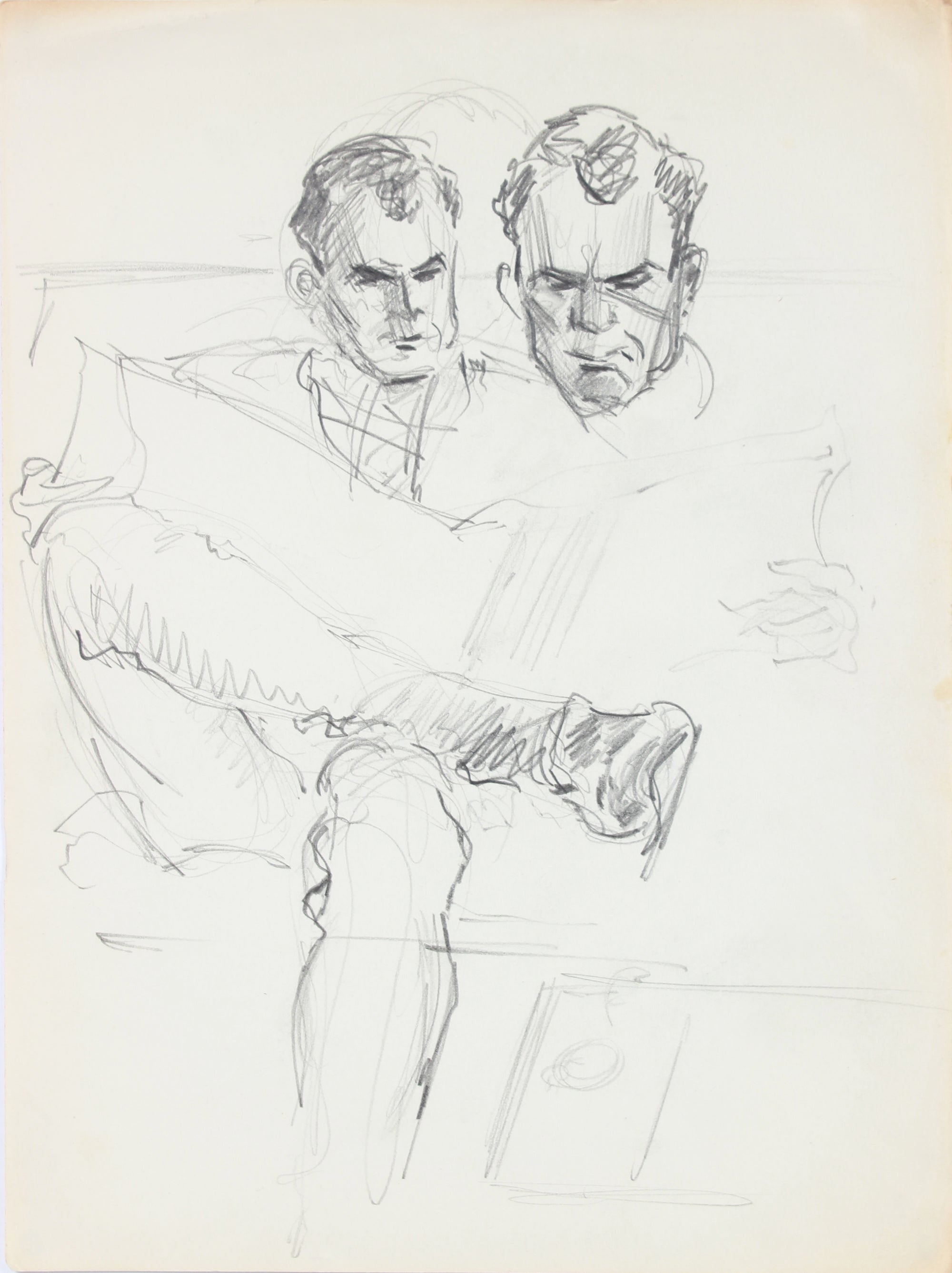 Man Reading - Face Studies <br>1940-50s Graphite <br><br>#A8476