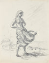 Braced in the Wind - Modernist Drawing <br>1940-50s Graphite <br><br>#A8477