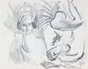 Two Surreal Female Figures <br>1940-50s Graphite <br><br>#A8478