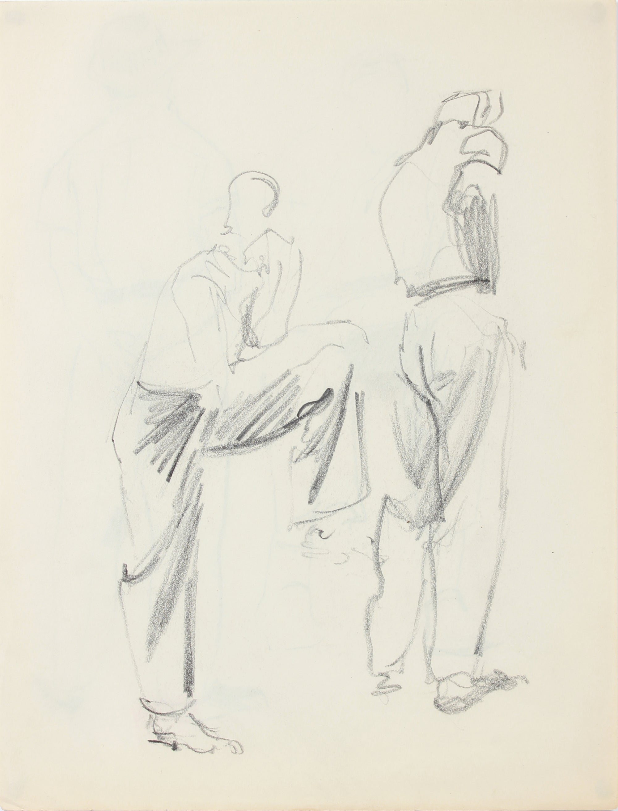 Stylized Sketch of Two Male Figures <br>1940-50s Graphite <br><br>#A8531