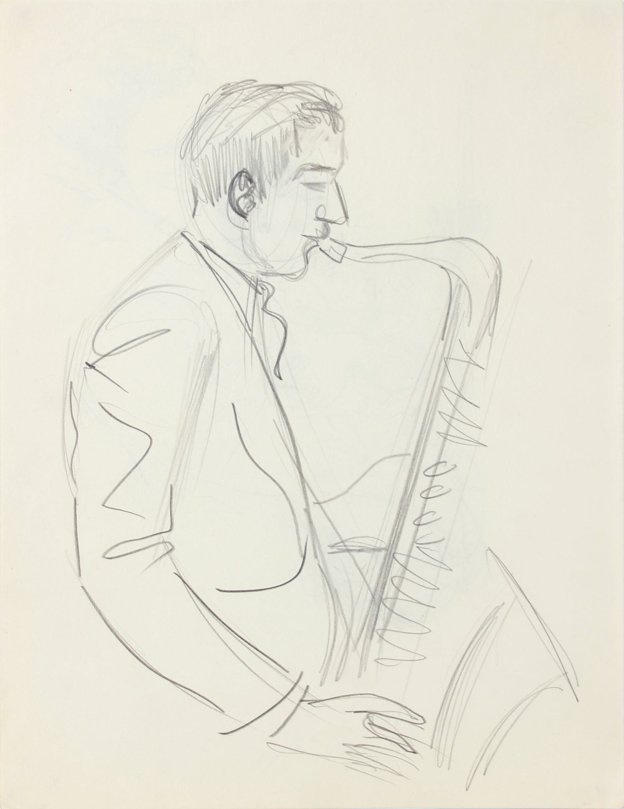 Saxophone Player, New York <br>1940-50s Graphite <br><br>#A8533