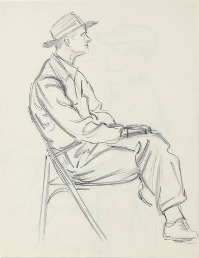 Modernist Seated Gentleman <br>1940-50s Graphite <br><br>#A8535