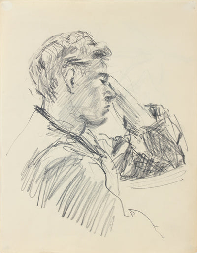 Relaxed Male Portrait Study <br>1940-50s Graphite <br><br>#A8537