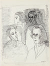 Four Modernist Figures <br>1971 Gouache & Ink <br><br>#A8779