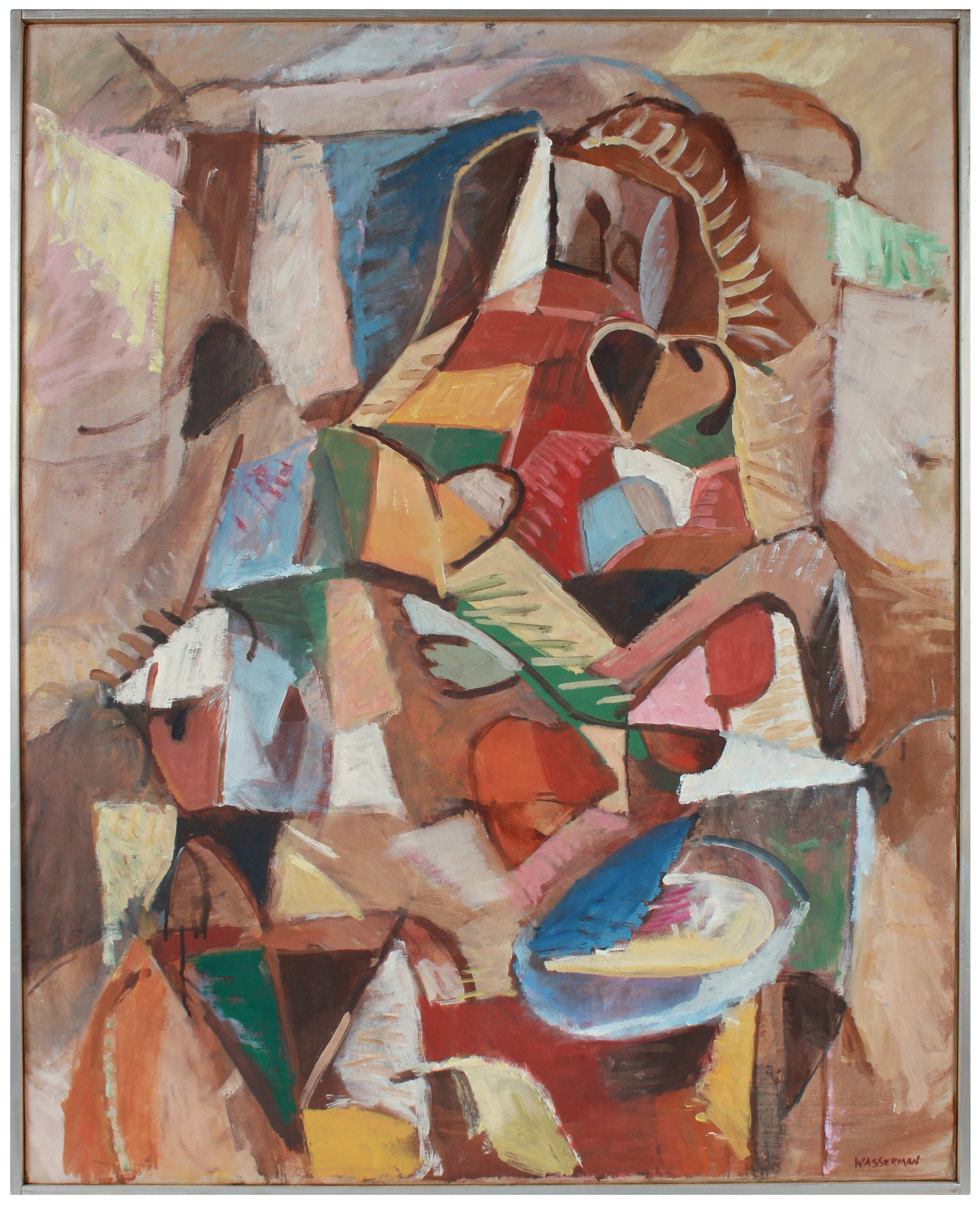 Cubist Deconstructed Still Life Scene <br>Mid Century Oil <br><br>#A8789