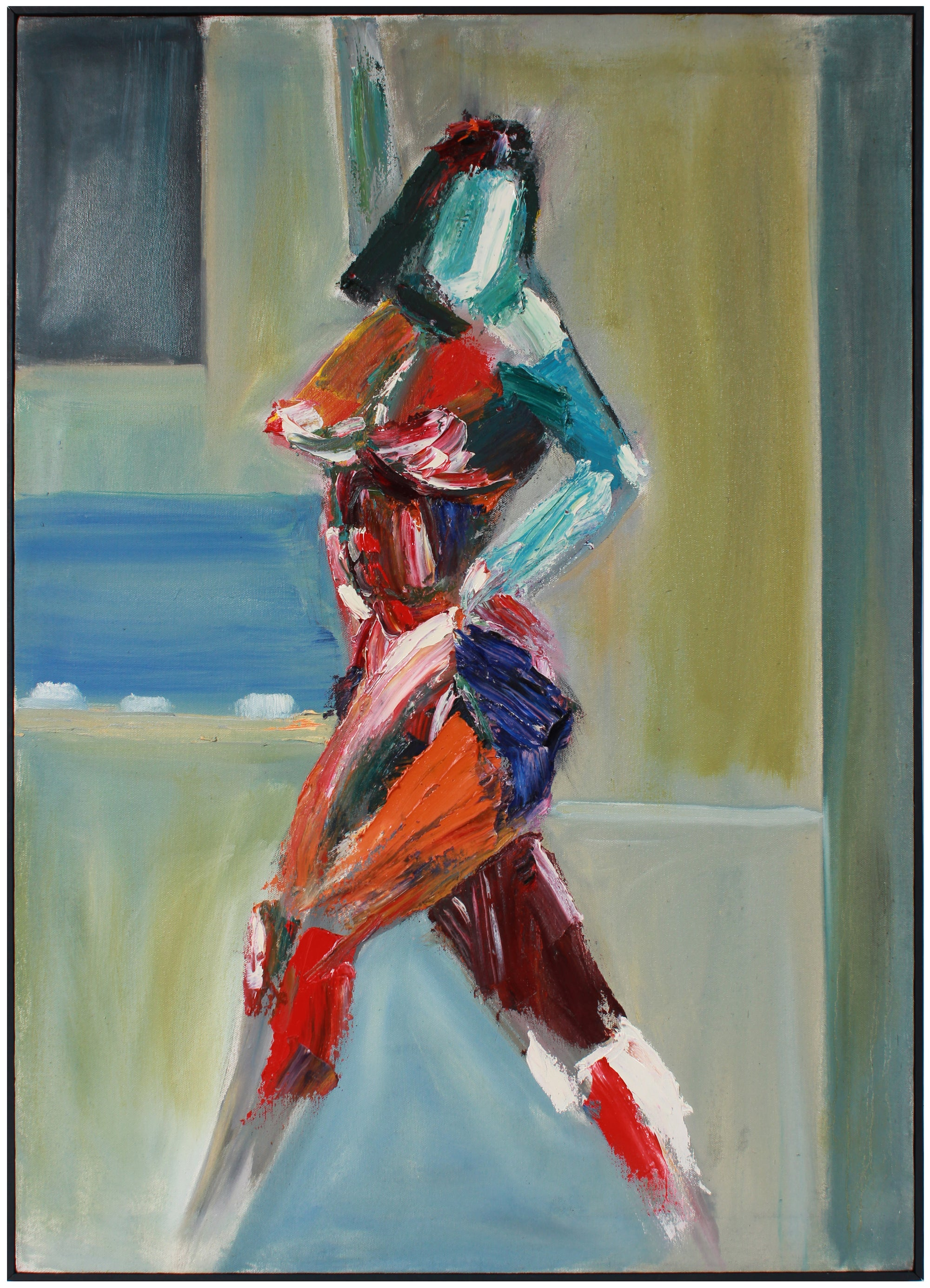 Abstracted Standing Female Figure <br>Mid-Late 20th Century Oil <br><br>#A8903