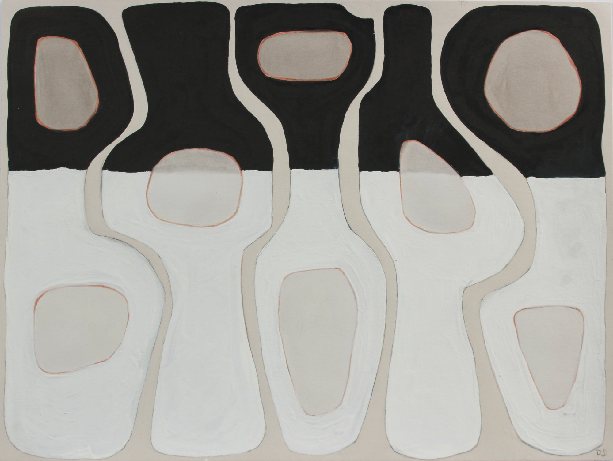 <i>Monochrome Pottery II</i> <br>2019 Gouache & Mixed Media <br><br>#A8989
