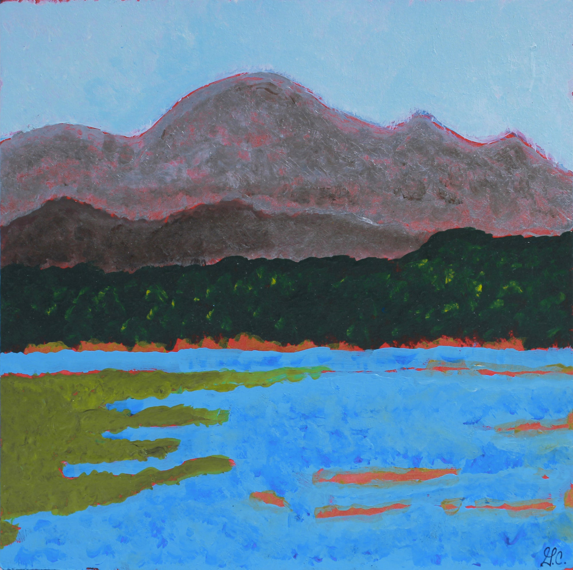 <i>Lake Pillsburg</i>, Mendocino, CA <br>2019 Acrylic & Walnut Oil <br><br>#A9004